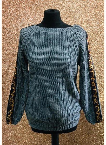 Sequin embellished sleeve knitted jumper