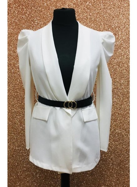 Alexis belted puff sleeve jacket