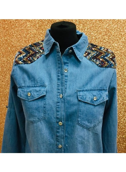 Betsy sequin detail Soft denim shirt