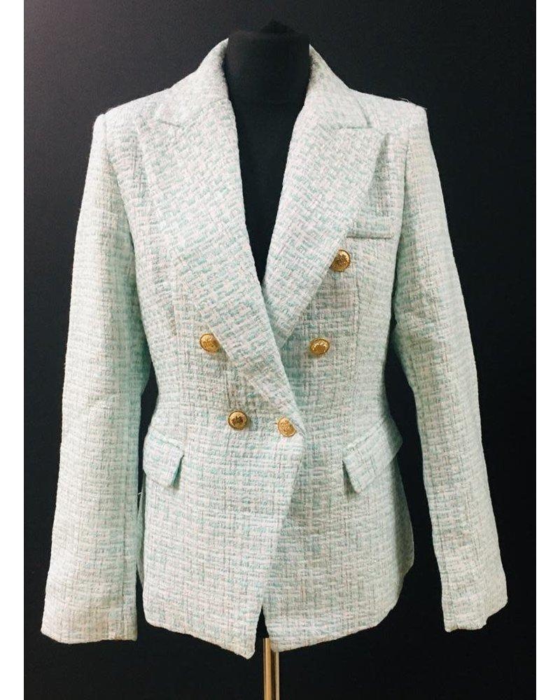 Brianna gold button tweed blazer