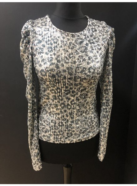 Leah Sequin leopard print top