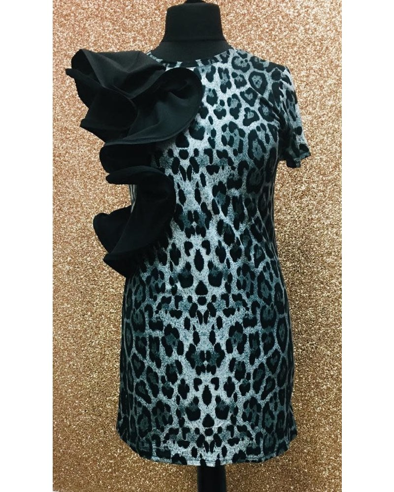 Lacey leopard print one shoulder frill dress