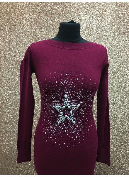 Diamanté & pearl embellished star long jumper