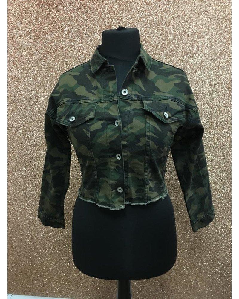 Camouflage denim cropped jacket