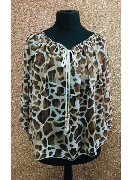 Gloria giraffe print off the shoulder tie top