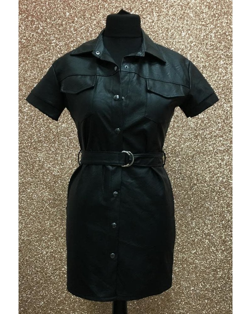 Leather look belted shirt dress