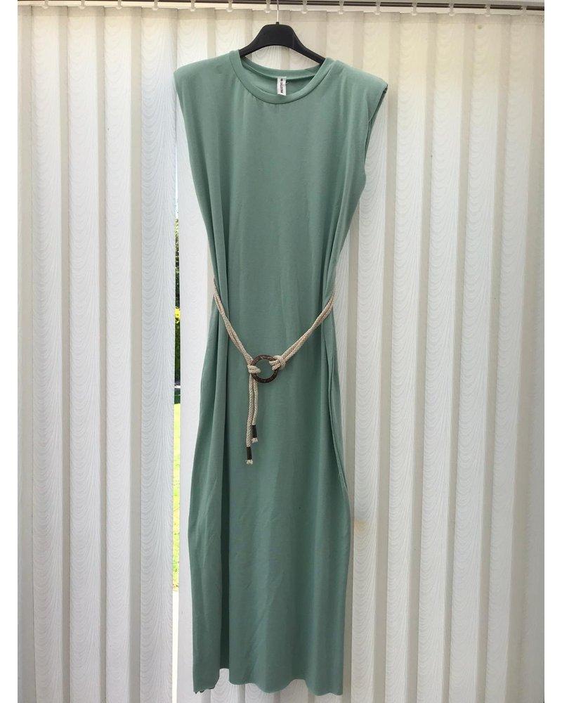 Emma sleeveless padded shoulder dress