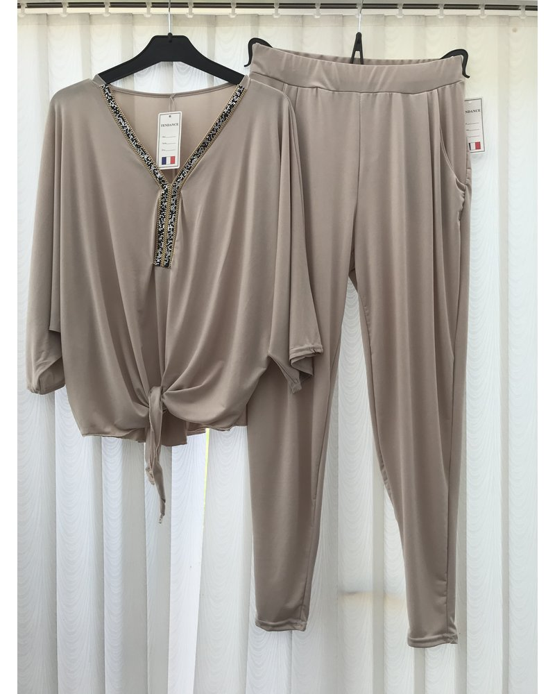 Glitter embellished tie top  and trousers