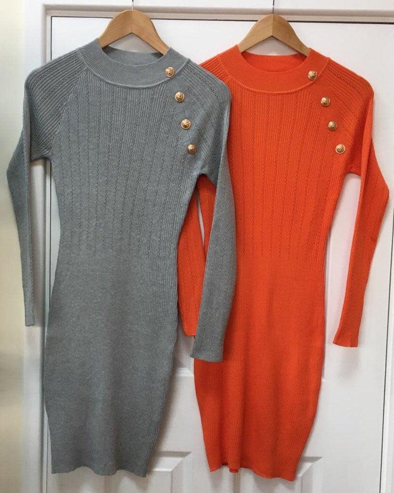 Fine knit millie gold button dress