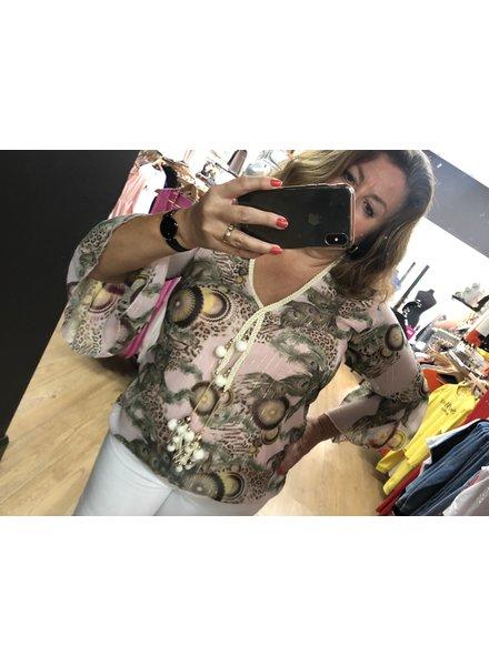 Maddie 4 pom Pom tassel top with bell sleeve