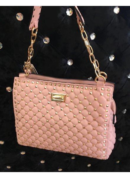 Hannah Quilted gold stud handbag