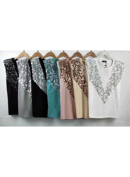 Sequin embellished padded shoulder sleeveless top
