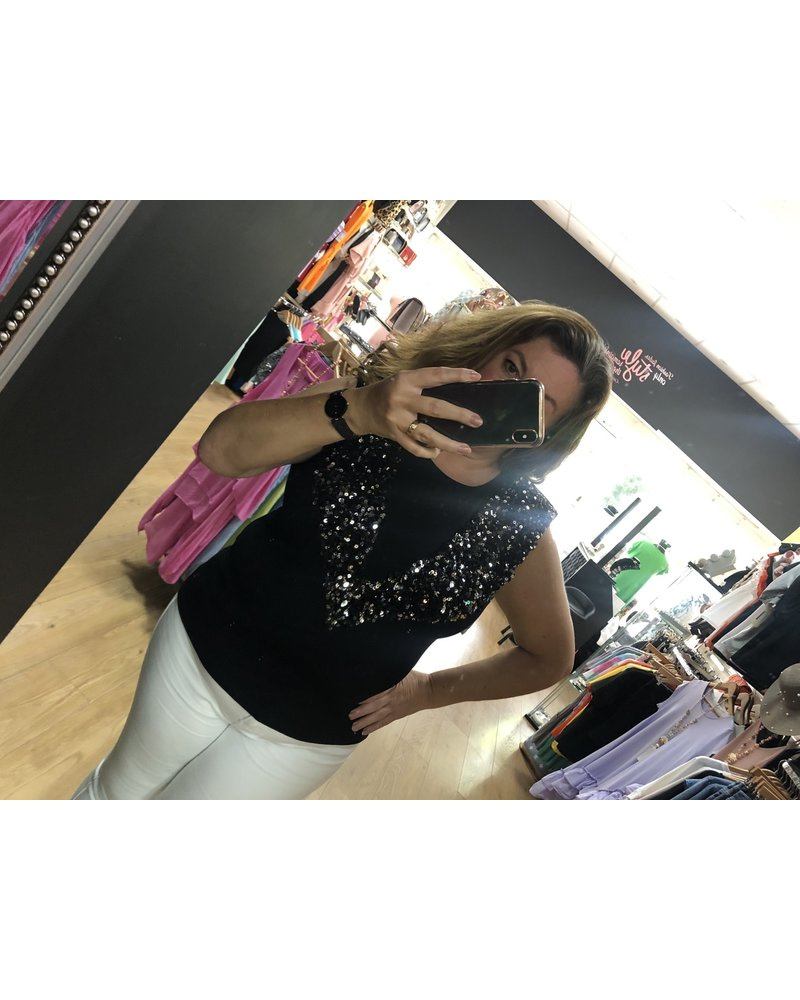 Sequin embellished padded shoulder sleeveless top
