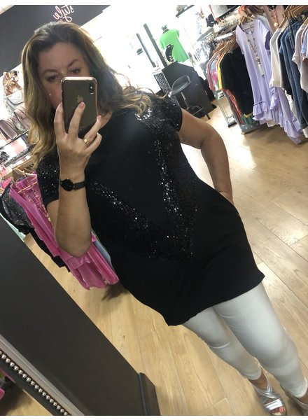 Sequin embellished long V Top