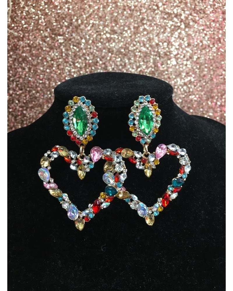 Glam Crystal heart earrings