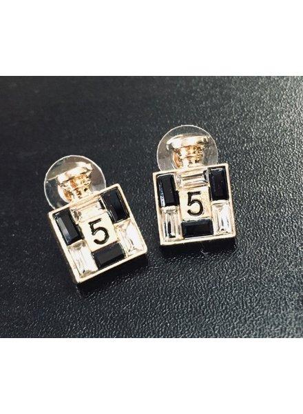 No 5 perfume bottle earrings