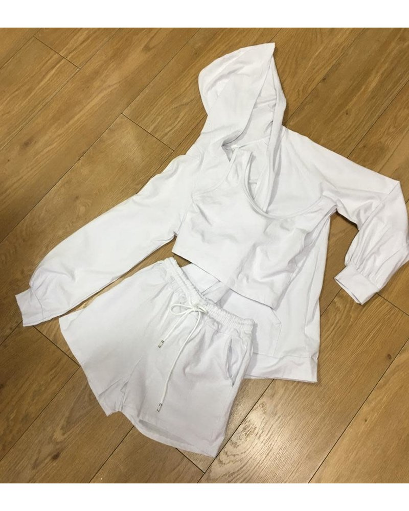 3 piece hooded shorts set