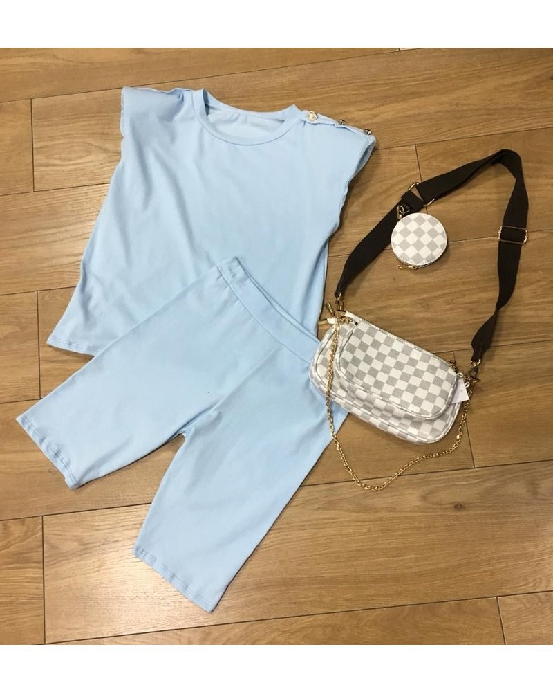Charley gold button shorts set