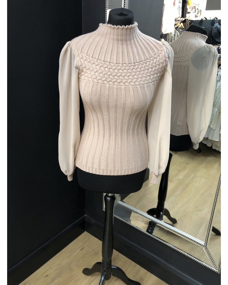 Nelly turtle neck sheer sleeve top