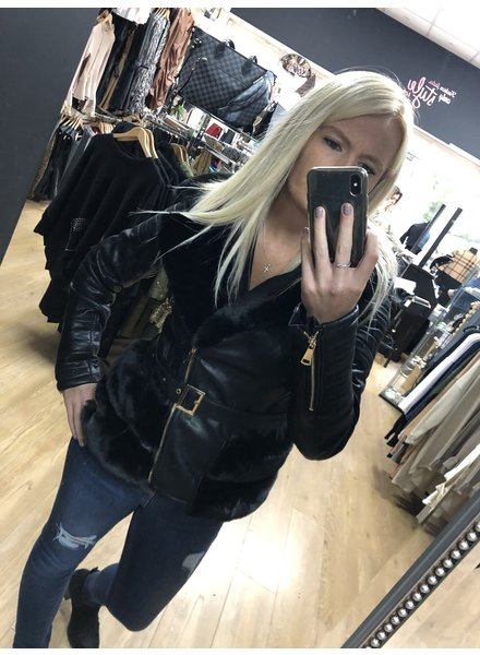 Harley faux leather and fur jacket