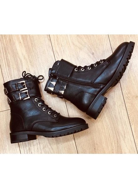 Black silver buckle and lace  biker boots