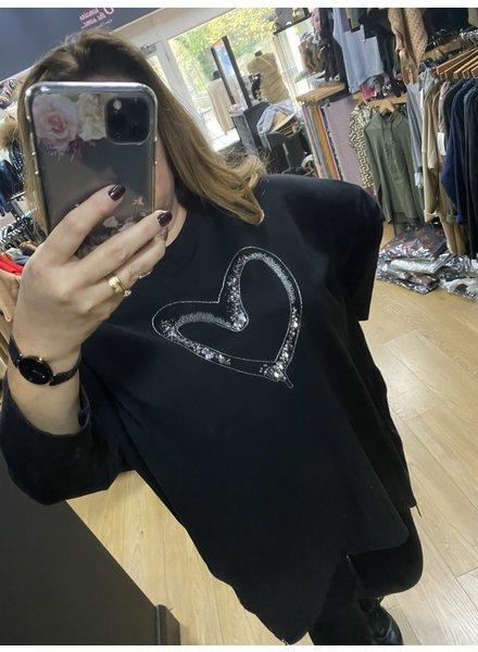 Helena heart casual zip sweatshirt