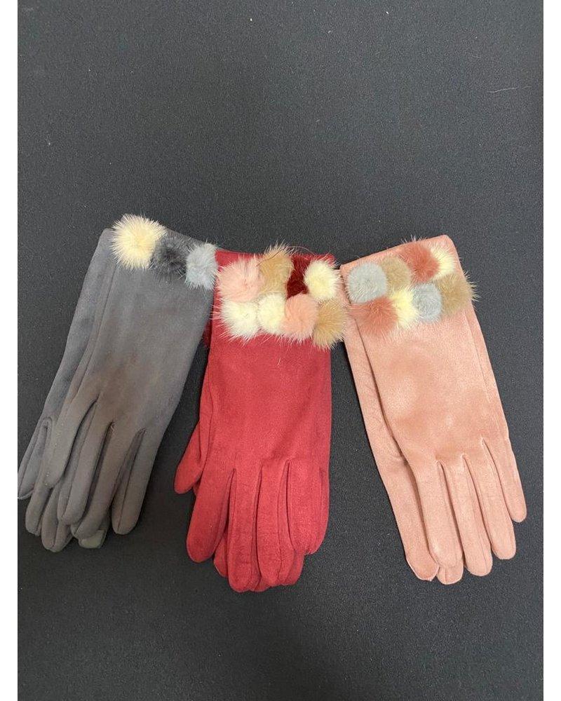 Fur Pom Pom suedette gloves