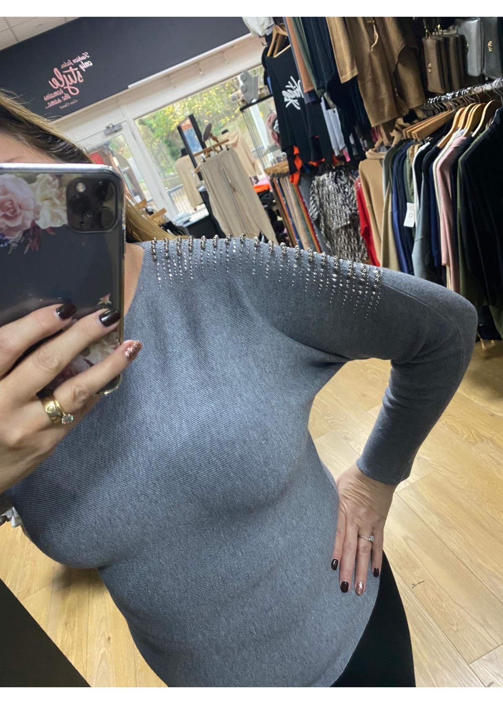 Alice Diamante studded shoulder jumper
