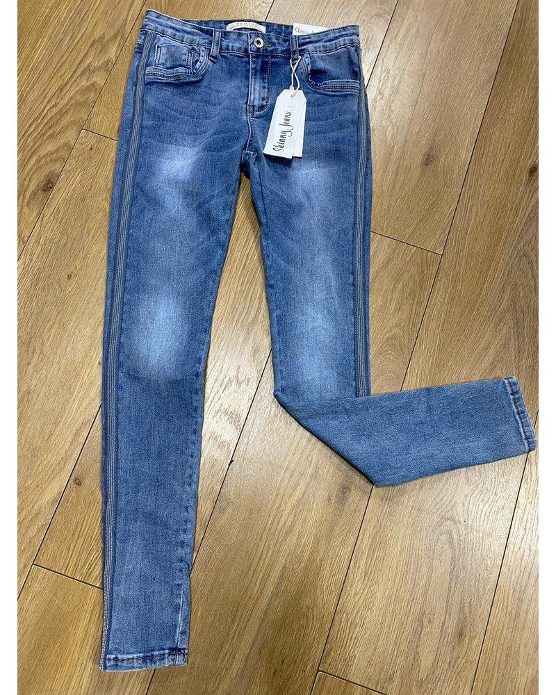 Fine stud embellished skinny jeans