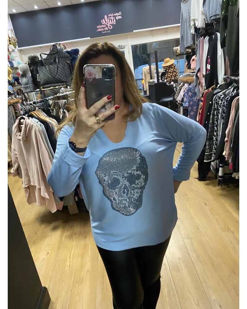 Fine knit casual skull top