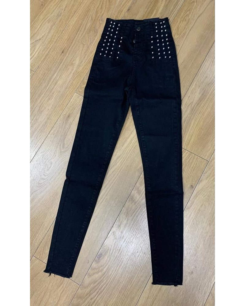 Hayley button front stud jean