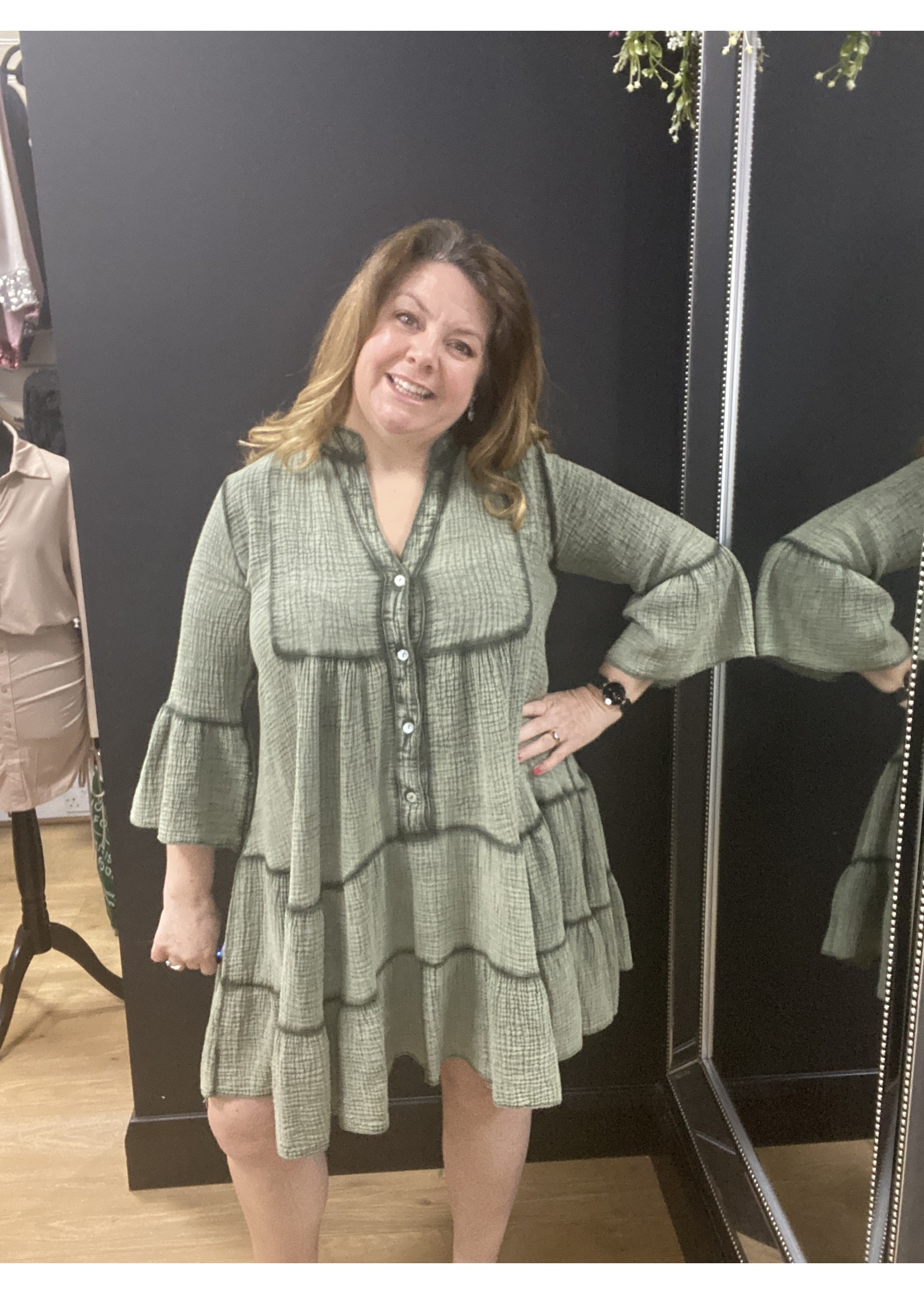 Deanna cheesecloth tiered dress