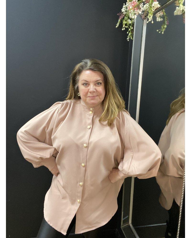 Cilla gold button shirt dress