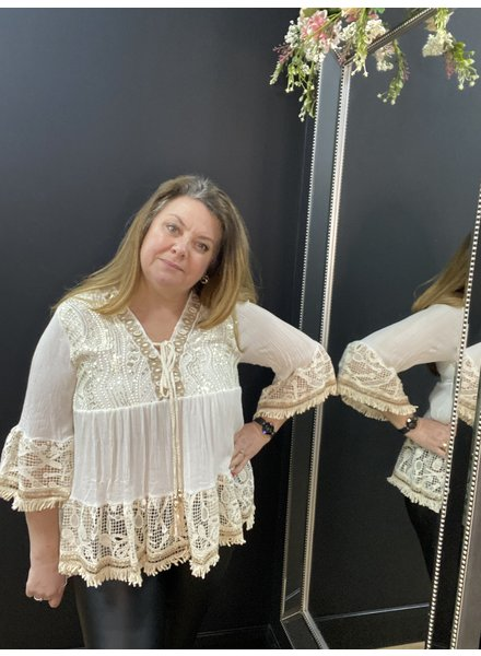 Amelie gold thread top