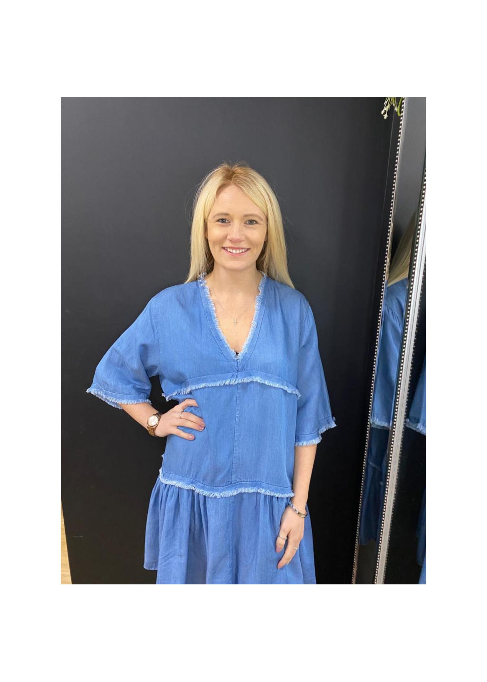 Bobbi tiered denim dress