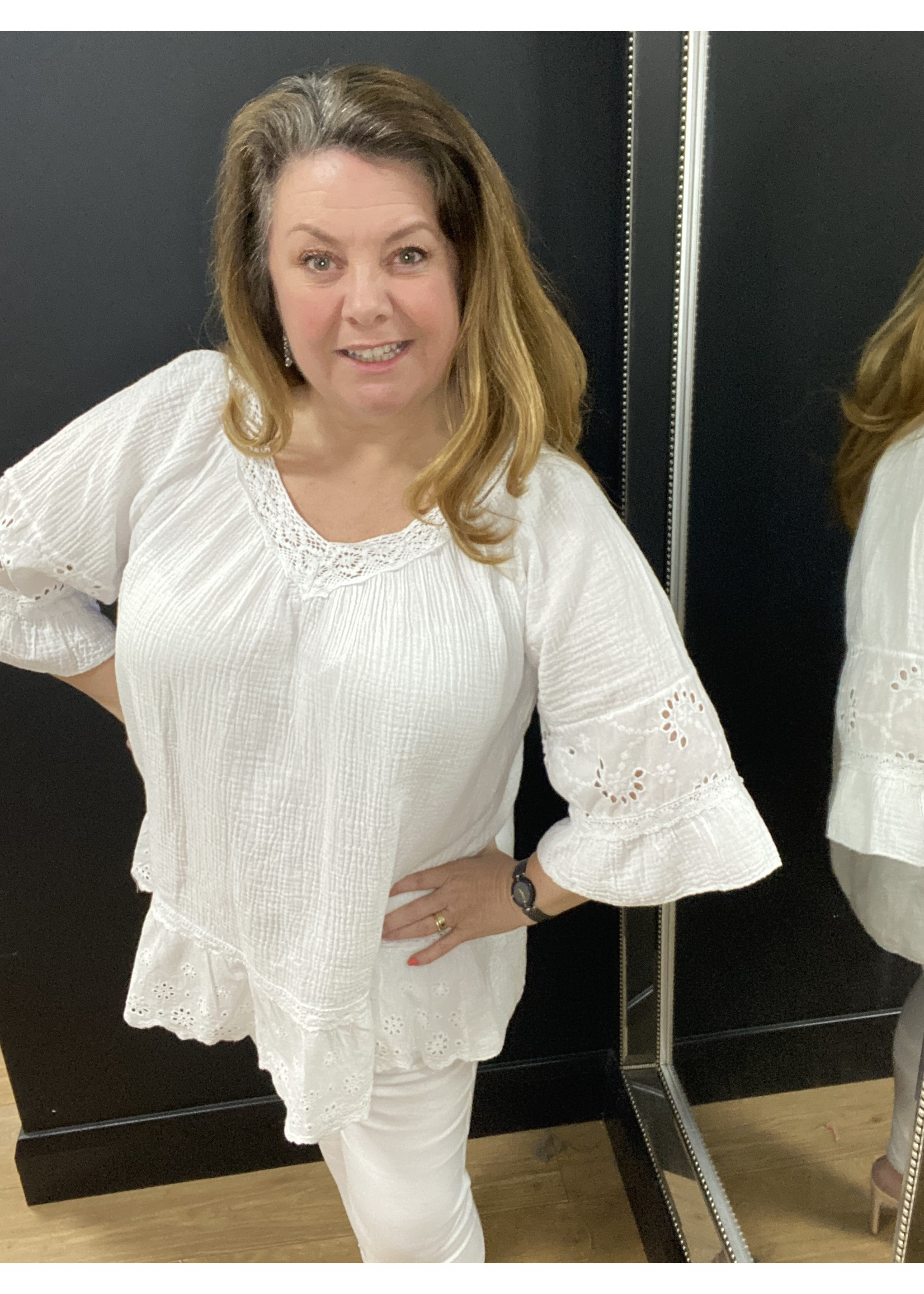 Candy cheesecloth tie neck top