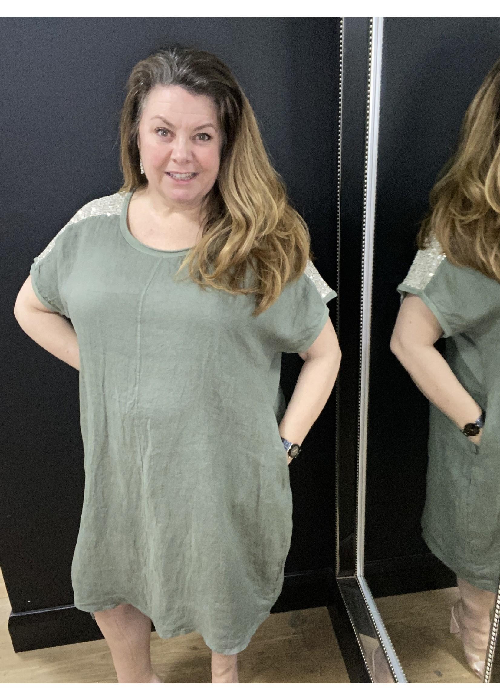 Stacey sequin linen dress