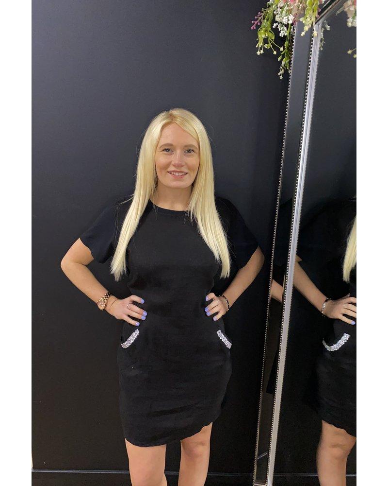 Gabi glitter pocket shift dress