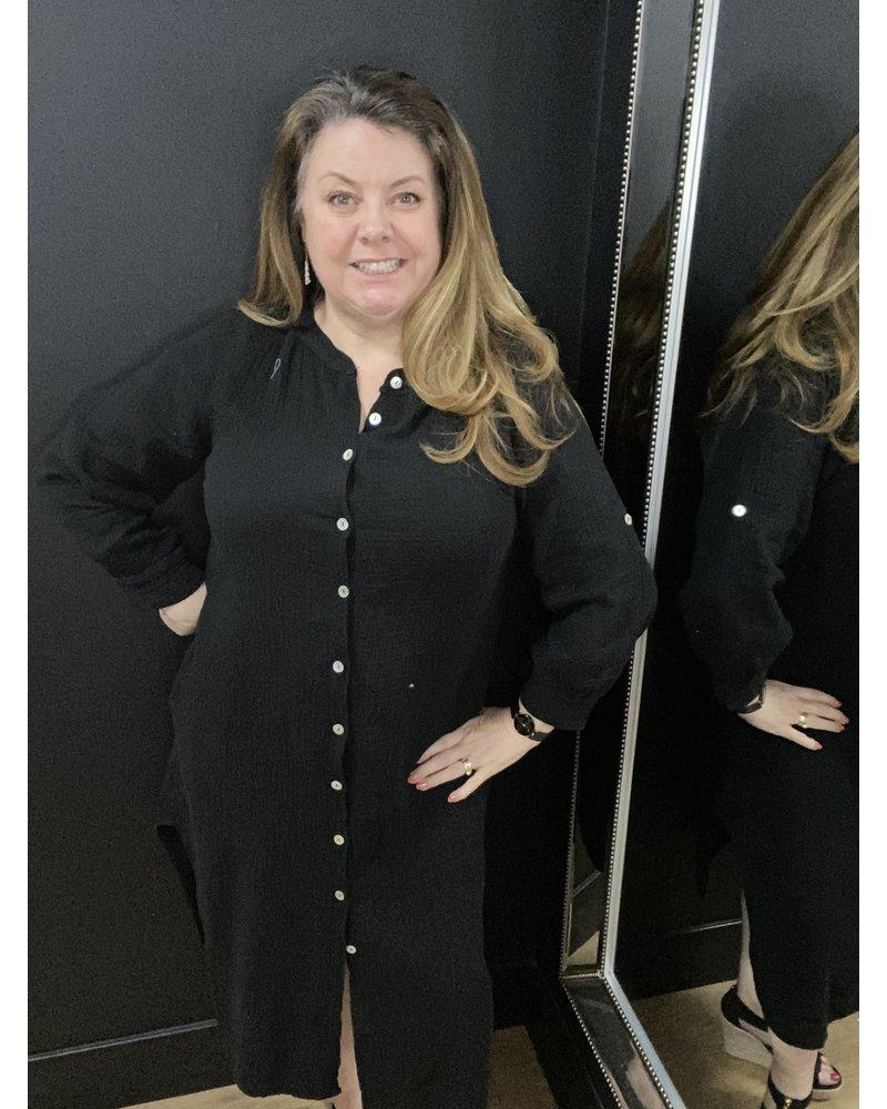 Della cheesecloth shirt dress