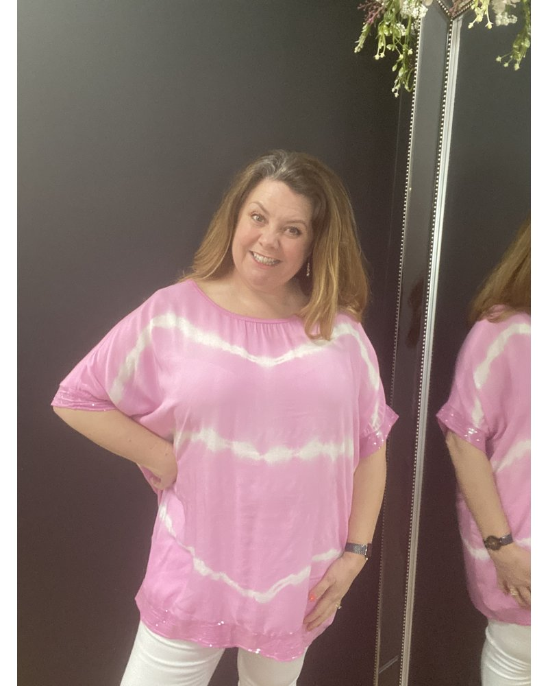 Molly oversized tie dye sequin edge top
