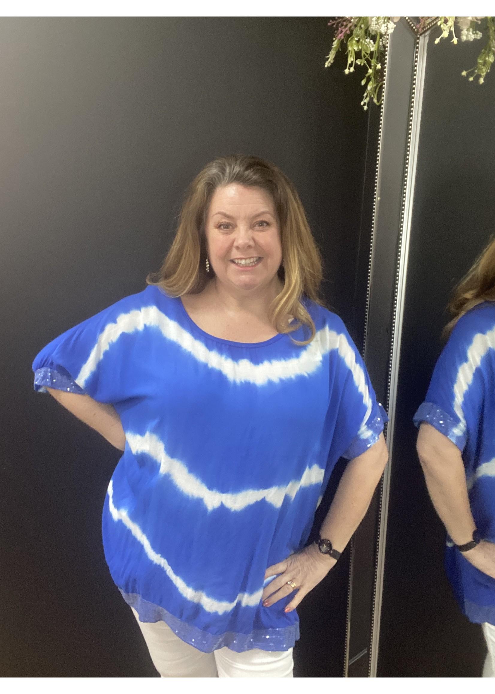 Molly oversized tie dye sequin edge top