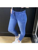 Distressed denim magic trousers