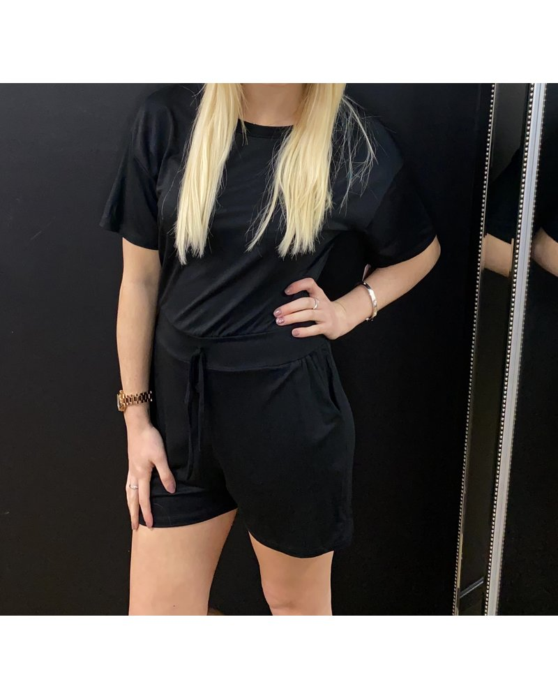 Basic everyday draw string playsuit