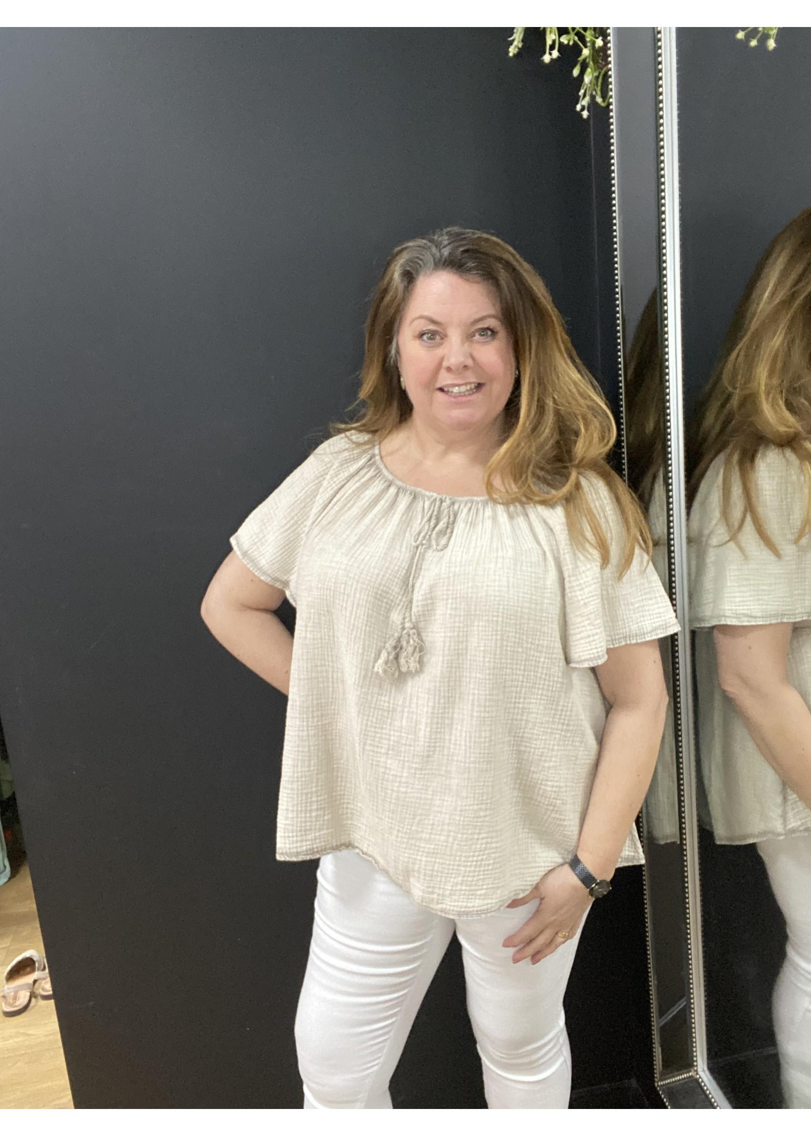 Eleanor cheesecloth Bardot top