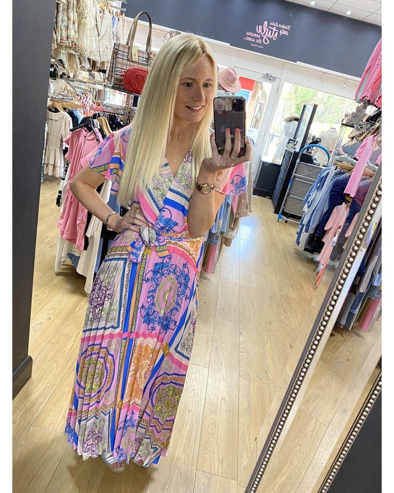 Verity pleat print dress