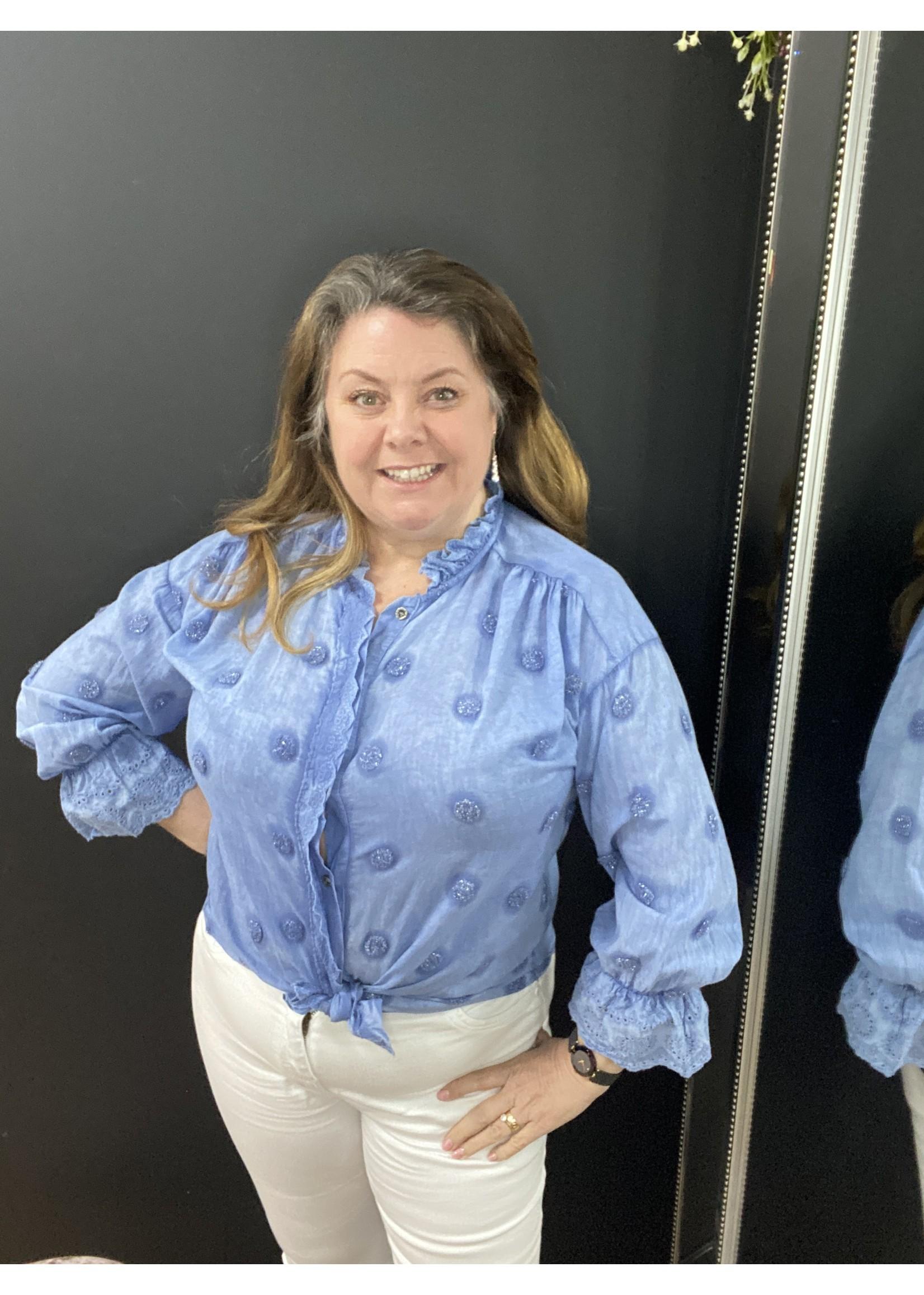 Ciara cotton and broderie spot shirt