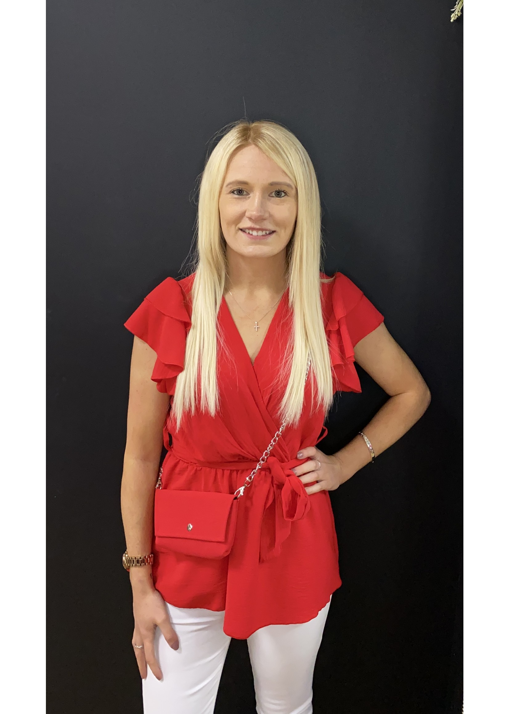 Petal crossover top with matching bag