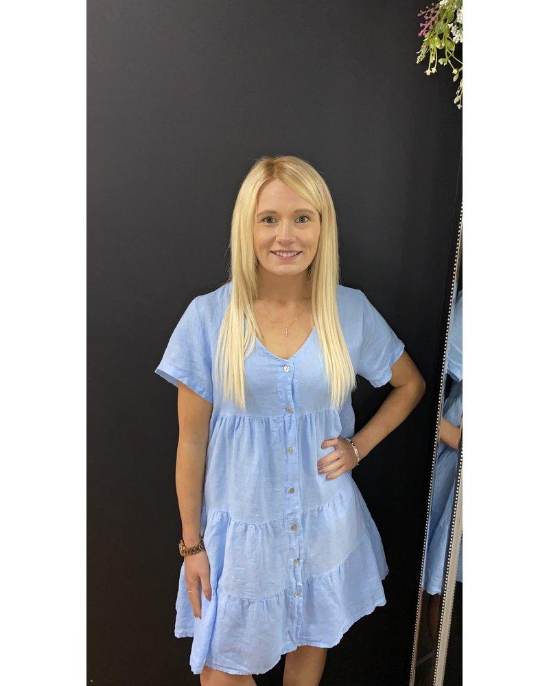 Kayleigh button linen dress