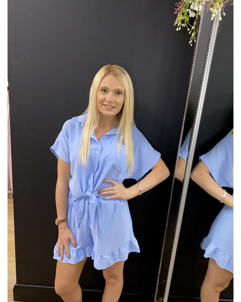 Talia tie up shorts set