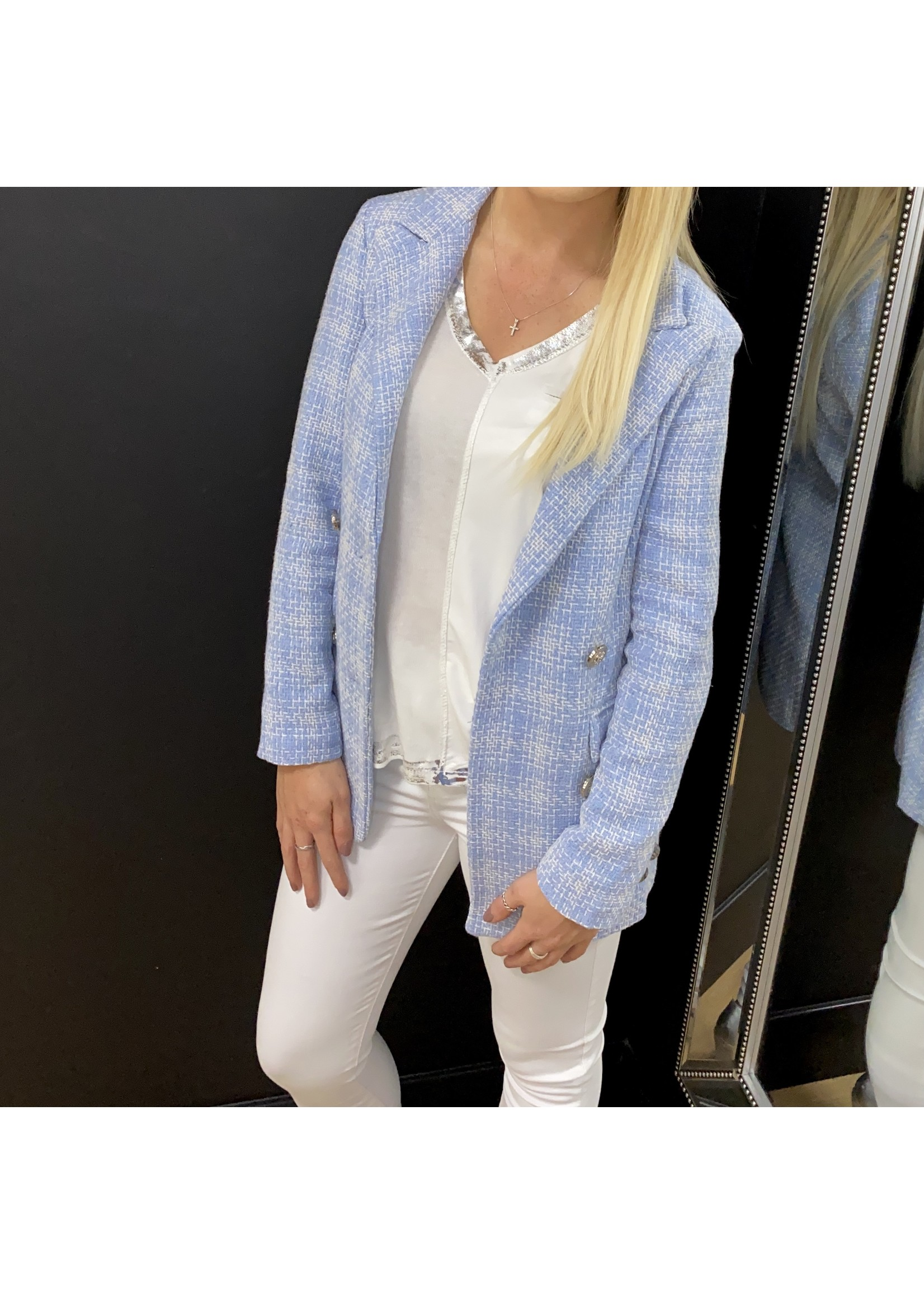 Blue check long line blazer